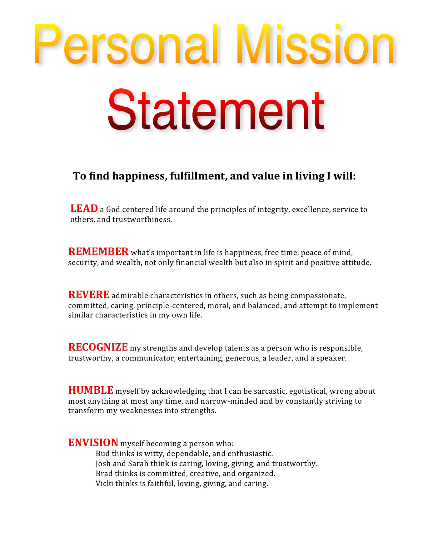 My personal mission statement leadtoday for Values statement template